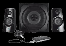 Qualidade e estilo arrojado em um sistema de som 2.1